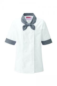 ユニフォームや制服・事務服・作業服・白衣通販の【ユニデポ】レディスコックシャツ(半袖)