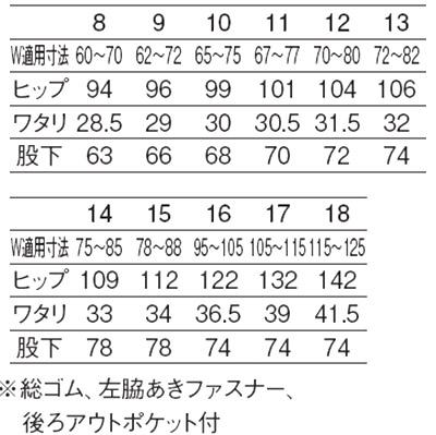 レディストレパン サイズ詳細