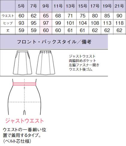 【2色】Aラインスカート(ロング)(ファインクロス)(60cm丈/9号) サイズ詳細