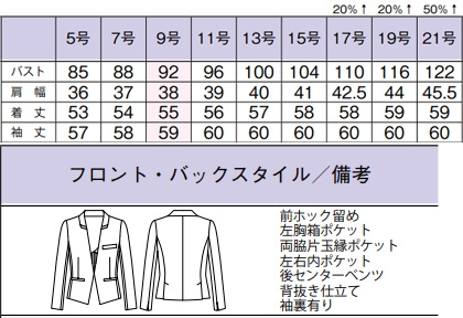 ノーカラージャケット(Design Black) サイズ詳細