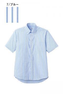 ユニフォームや制服・事務服・作業服・白衣通販の【ユニデポ】【全9色】ストライプシャツ(半袖)