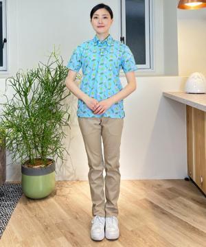 アロハポロシャツ(フラミンゴ)