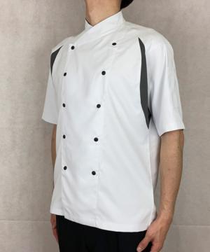 ユニセックスコックシャツ(防汚加工・ストレッチ・脇メッシュ/~5Lまであり)