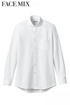 ワイドカラーニット長袖シャツ