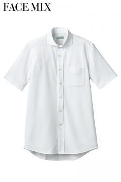 ワイドカラーニット半袖シャツ
