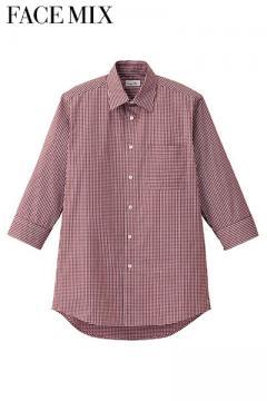メンズセミワイドカラー七分袖シャツ