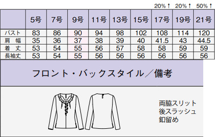 【2色】ラッフル長袖ニット サイズ詳細