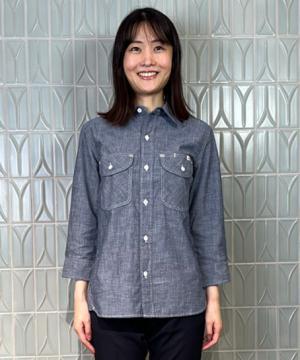【Lee】レディスシャンブレー七分袖シャツ