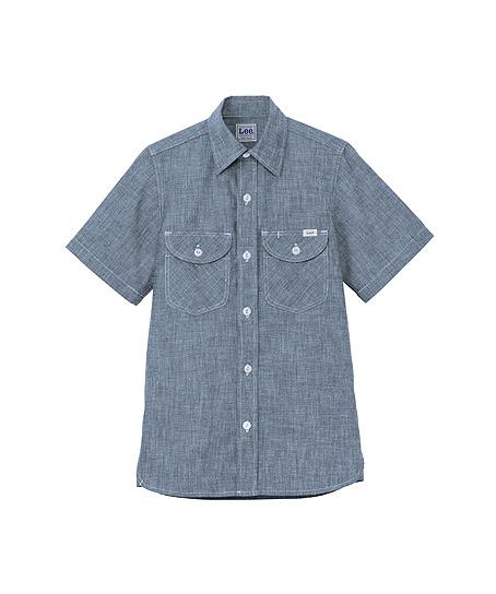 【Lee】レディスシャンブレー半袖シャツ