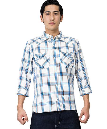 【Lee】メンズウエスタンチェック七分袖シャツ