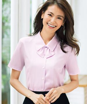 ユニフォームや制服・事務服・作業服・白衣通販の【ユニデポ】【全4色】半袖ブラウス(リボン付)