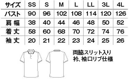 【全4色】ラインポロシャツ(ユニセックス) サイズ詳細