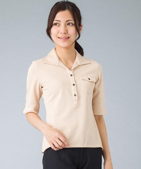 【全4色】高機能ニットワッフルシャツ(七分袖)
