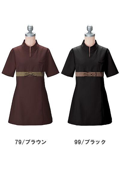 【3色】胸元リボンのチュニックシャツ(高機能素材)