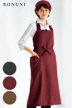 【全3色】レディース胸当てエプロン(首掛けタイプ)