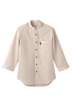男女兼用スタンドカラーシャツ(七分袖)