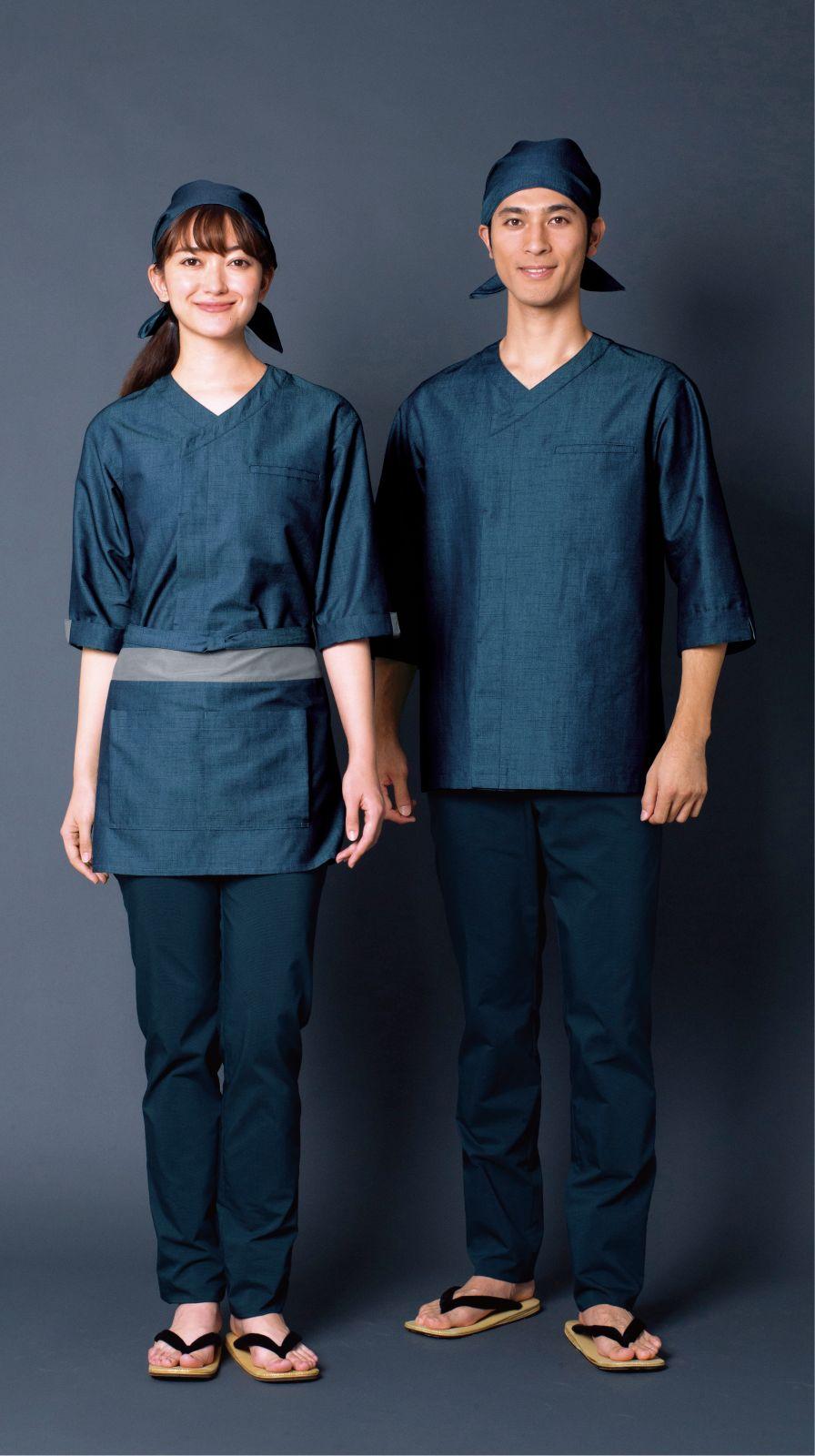 【播州織和紙デニム】和風シャツ(男女兼用)
