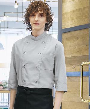 コックシャツ(男女兼用/七分袖)ポリエステル65%・綿35% 左胸ポケット 6色