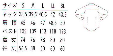 長袖メンズシャツ(形態安定・透け防止・吸汗速乾) サイズ詳細