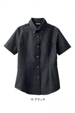 レディス半袖ボタンダウンシャツ(形態安定・透け防止・吸汗速乾)