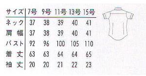 レディス半袖ボタンダウンシャツ(形態安定・透け防止・吸汗速乾) サイズ詳細