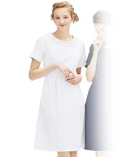 【3色】襟元タックフリルワンピース