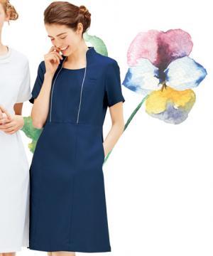【4色】クラシカル立ち襟ワンピース