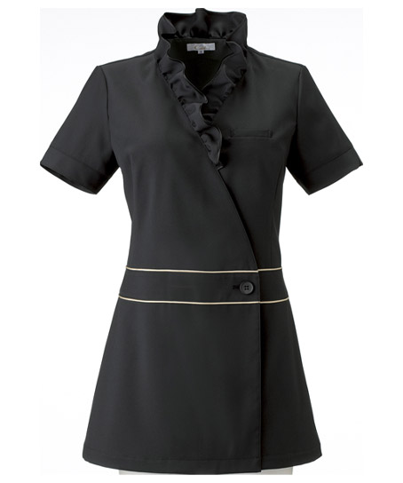 【全3色】襟元フリルチュニック(透け防止・ストレッチ・吸汗性)