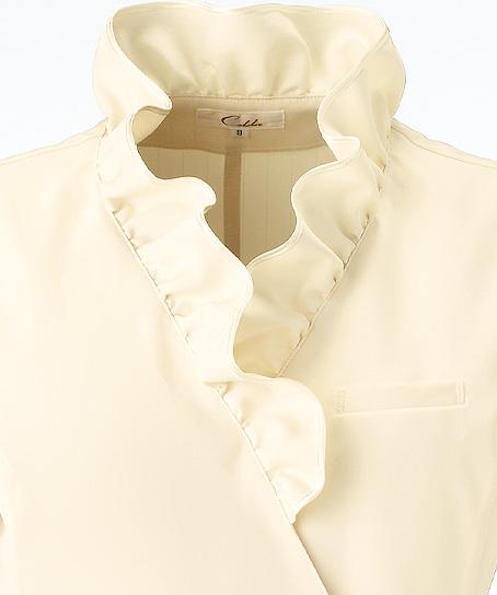 【3色】襟元フリルチュニック(透け防止・ストレッチ・吸汗性)