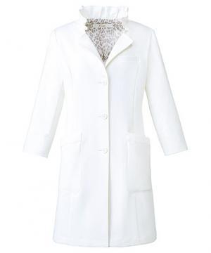 襟ふんわりフリルドクターコート 白衣[女・七分袖]