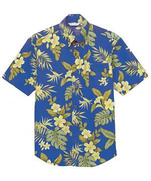 【3色】ハイビスカス柄ボタンダウンアロハシャツ半袖[男女兼用]