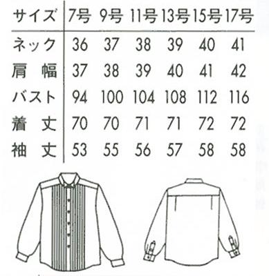 ピンタックウイングカラーシャツ〔女〕 サイズ詳細