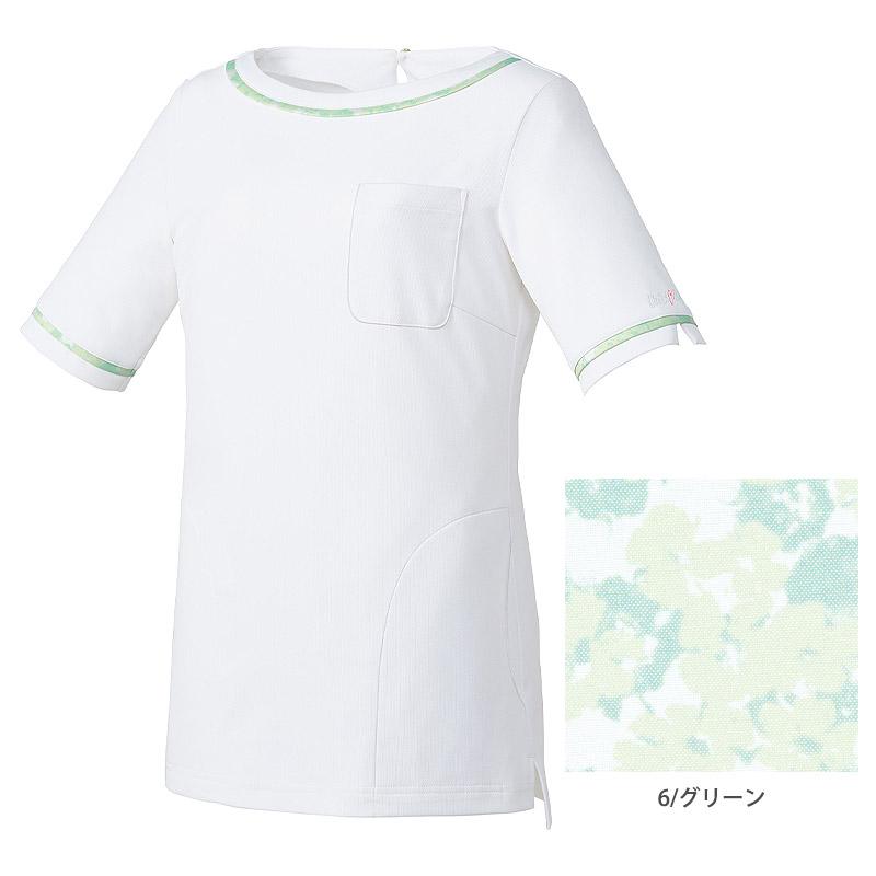 【MICHEL KLEIN】ミッシェルクラン 花柄リボン付カットソー(レディース