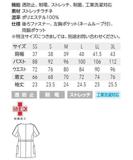 【MICHEL KLEIN】ラインデザインチュニック サイズ詳細