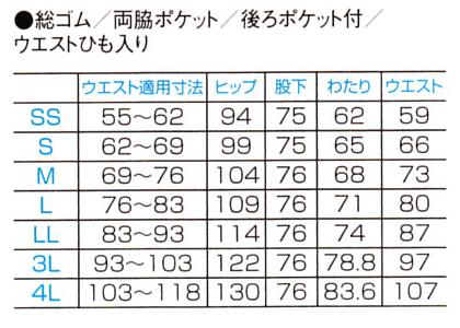 【全10色】PANTONE メンズストレートパンツ サイズ詳細