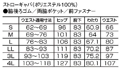 【小松マテーレ】メンズパンツ サイズ詳細