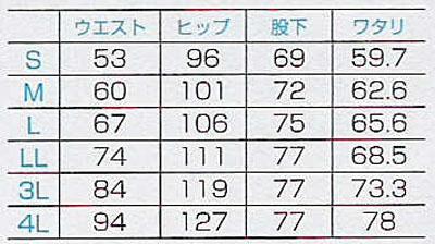【全5色】スクラブ用ブーツカットパンツ(レディス) サイズ詳細