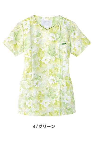 【全3色】花柄ジップスクラブ 白衣