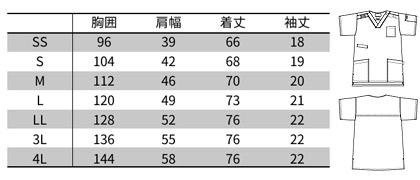 【Dickies】ディッキーズ スクラブ 白衣(男女兼用) サイズ詳細