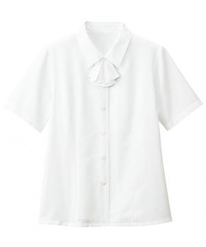 ユニフォームや制服・事務服・作業服・白衣通販の【ユニデポ】【2色】半袖ブラウス・リボン付 (透け防止・洗濯機可)
