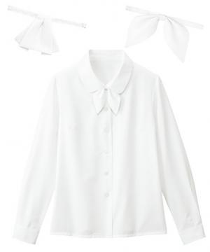 【全4色】長袖ブラウス・2種類リボン付 (透け防止・洗濯機可)