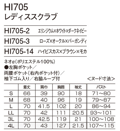 【ワコール】レディススクラブ サイズ詳細