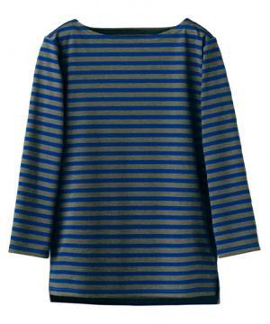 【3色】ボーダーネックTシャツ(七分袖/男女兼用)