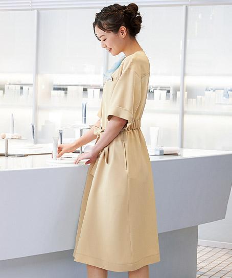 【3色】ウエストリボンワンピース(制菌・ストレッチ)