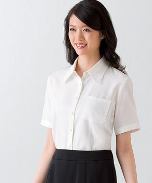 【全10色】半袖シャツブラウス(防汚加工・形態安定)