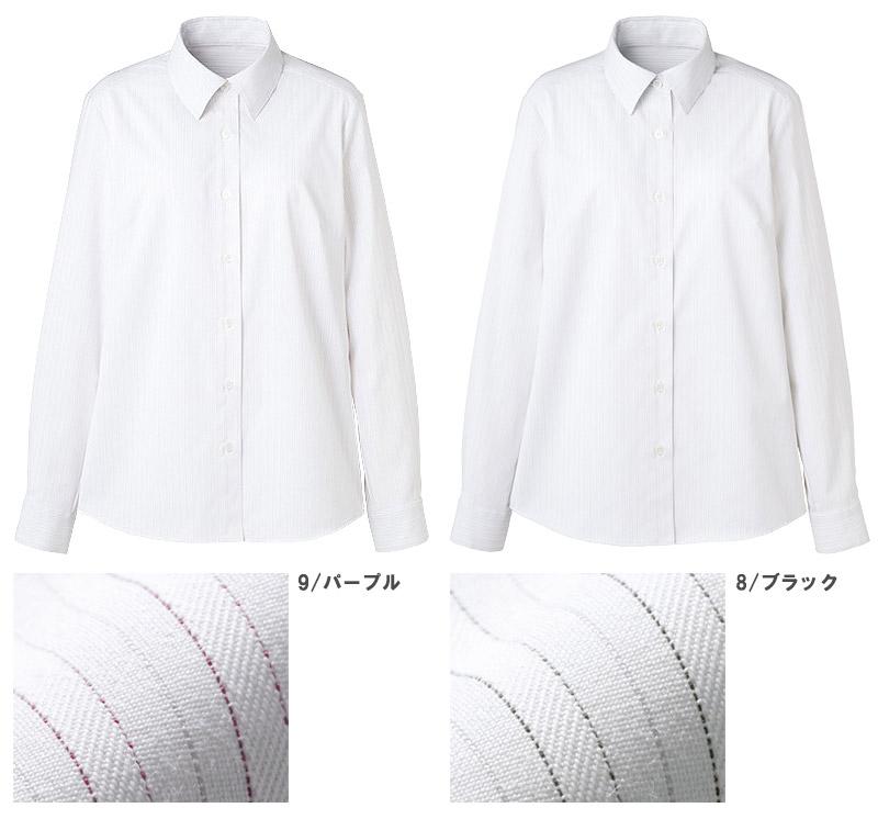 【2色】長袖シャツブラウス(ツインストライプ)