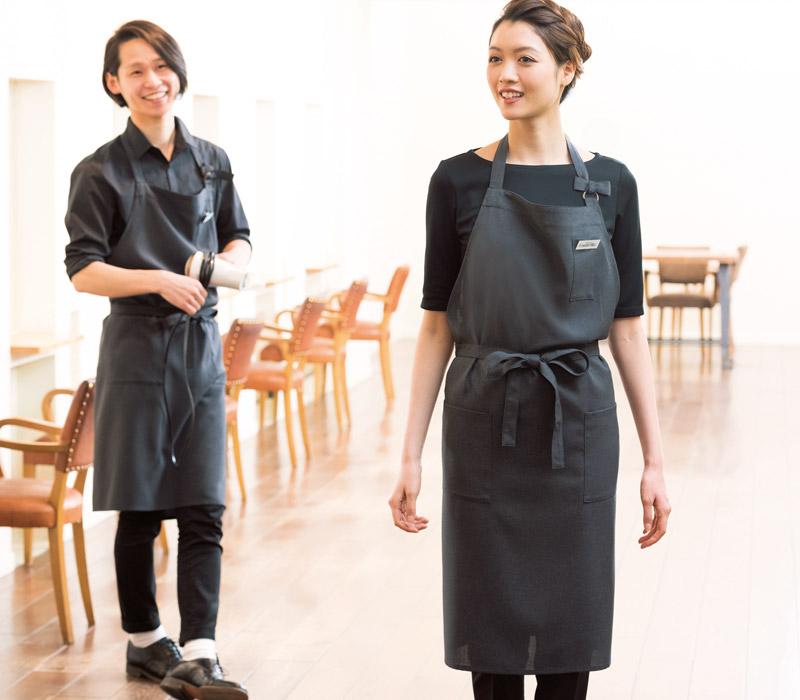レストラン・カフェ・飲食用 【全3色】胸当てエプロン(首掛け/男女兼用)