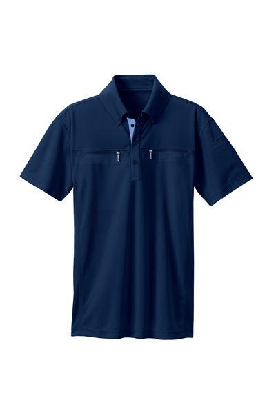 ボタンダウンダブルジップ半袖ポロシャツ(男女兼用)