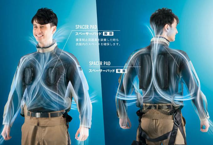 【空調服】フルハーネス対応ベスト(吸汗速乾・帯電防止・男女兼用)(単品)