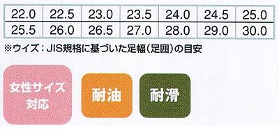 【2色】耐滑コックシューズ サイズ詳細